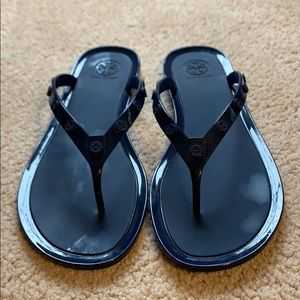 Tory Burch navy blue jelly thong sandals